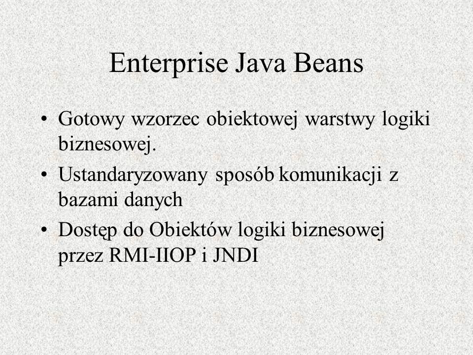 Enterprise Java Beans Gotowy wzorzec obiektowej warstwy logiki biznesowej. Ustandaryzowany sposób komunikacji z bazami danych Dostęp do Obiektów logik