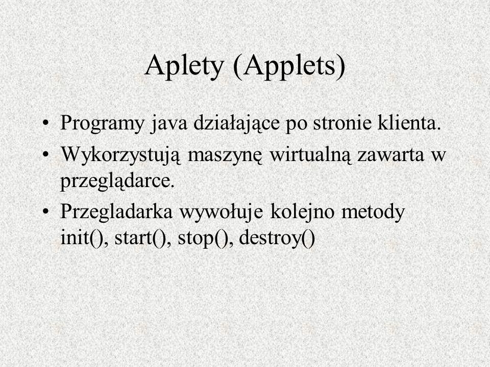 Aplety (Applets) Programy java działające po stronie klienta. Wykorzystują maszynę wirtualną zawarta w przeglądarce. Przegladarka wywołuje kolejno met