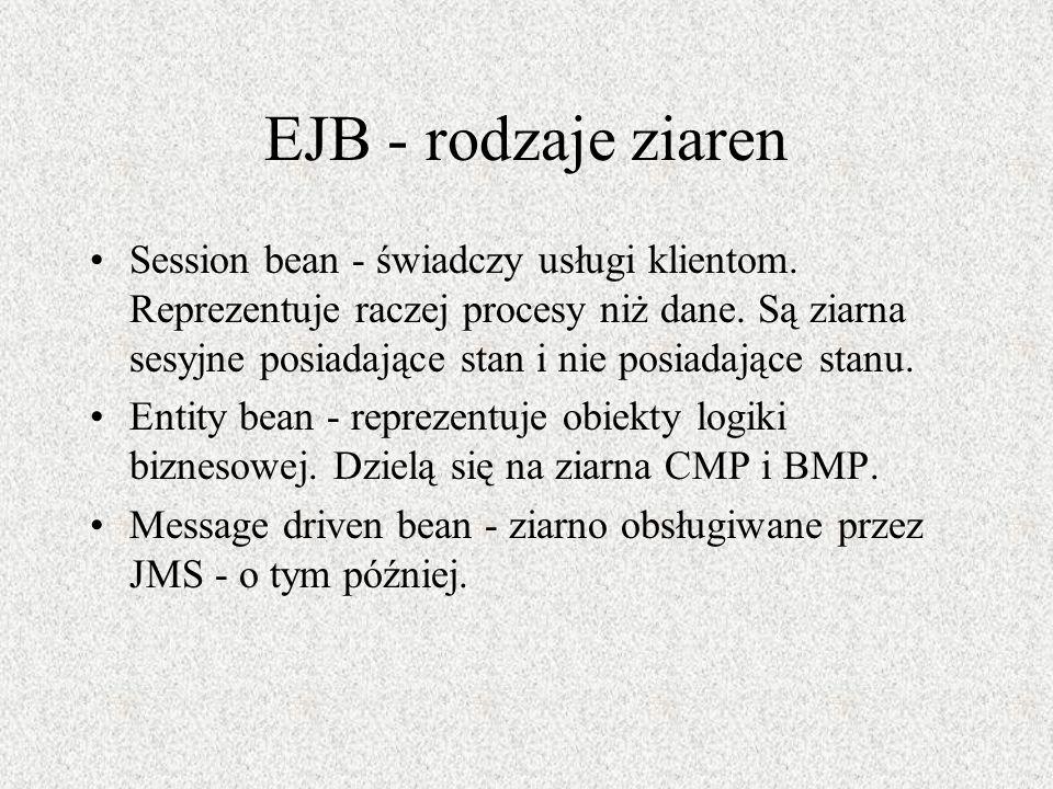 EJB - rodzaje ziaren Session bean - świadczy usługi klientom. Reprezentuje raczej procesy niż dane. Są ziarna sesyjne posiadające stan i nie posiadają