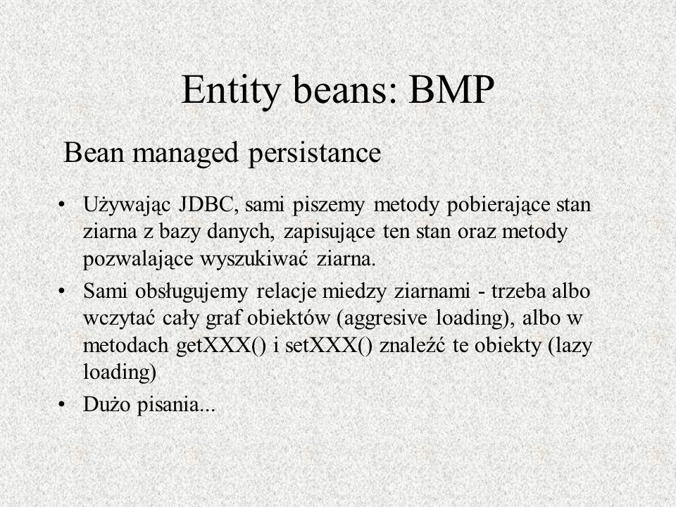 Entity beans: BMP Używając JDBC, sami piszemy metody pobierające stan ziarna z bazy danych, zapisujące ten stan oraz metody pozwalające wyszukiwać zia