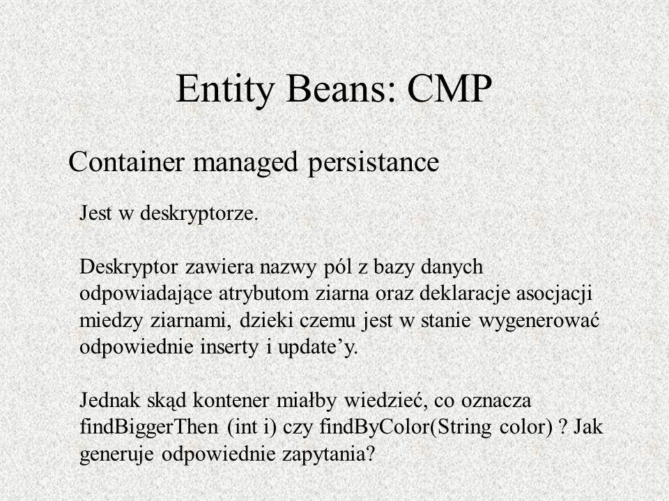 Entity Beans: CMP Container managed persistance Jest w deskryptorze. Deskryptor zawiera nazwy pól z bazy danych odpowiadające atrybutom ziarna oraz de