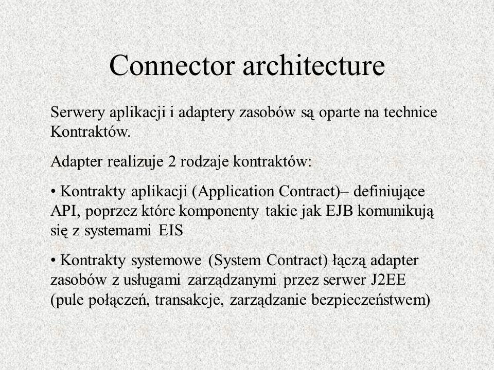 Connector architecture Serwery aplikacji i adaptery zasobów są oparte na technice Kontraktów. Adapter realizuje 2 rodzaje kontraktów: Kontrakty aplika