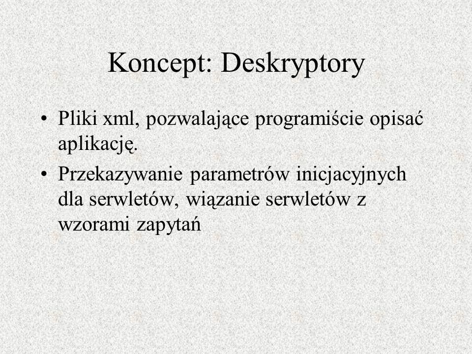 Koncept: Deskryptory Pliki xml, pozwalające programiście opisać aplikację. Przekazywanie parametrów inicjacyjnych dla serwletów, wiązanie serwletów z