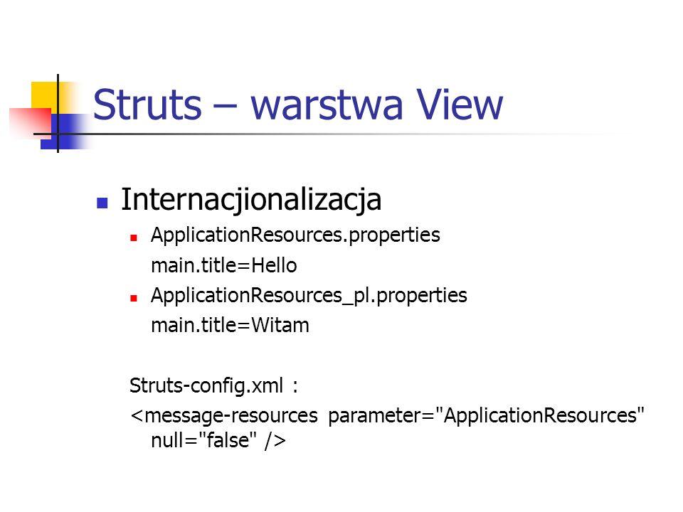Struts – warstwa View Internacjionalizacja ApplicationResources.properties main.title=Hello ApplicationResources_pl.properties main.title=Witam Struts