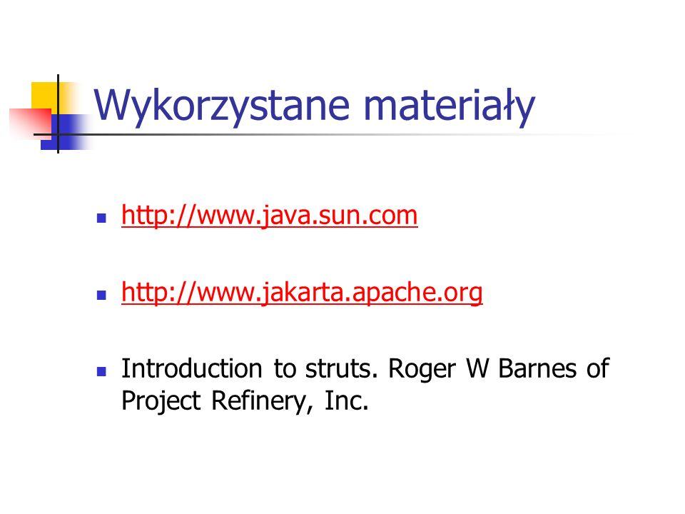 Wykorzystane materiały http://www.java.sun.com http://www.jakarta.apache.org Introduction to struts. Roger W Barnes of Project Refinery, Inc.