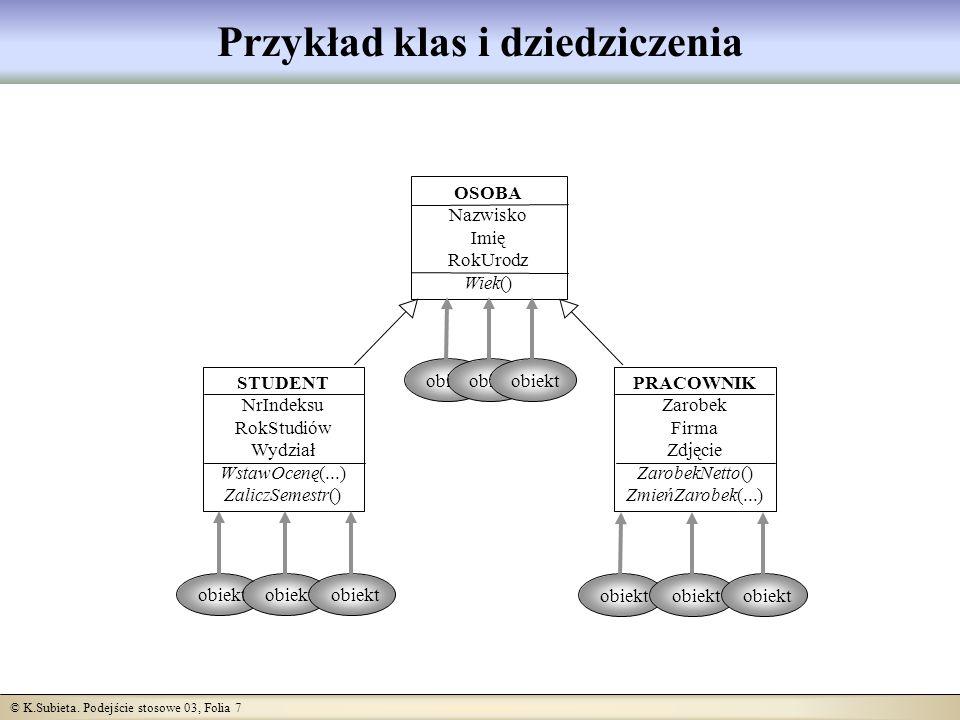 © K.Subieta.Podejście stosowe 03, Folia 18 Przeciążanie Przeciążanie oznacza, że jakiś symbol (np.