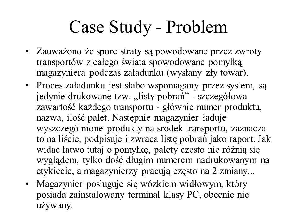 Case Study - Problem Zauważono że spore straty są powodowane przez zwroty transportów z całego świata spowodowane pomyłką magazyniera podczas załadunk