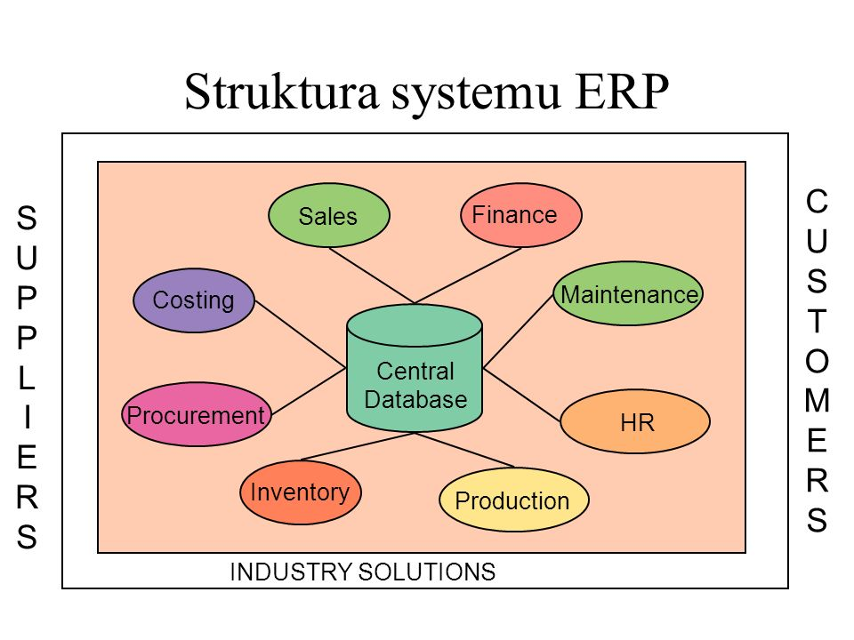 Struktura systemu ERP Central Database Sales Finance Costing Procurement Inventory Production HR Maintenance INDUSTRY SOLUTIONS CUSTOMERSCUSTOMERS SUPPLIERSSUPPLIERS