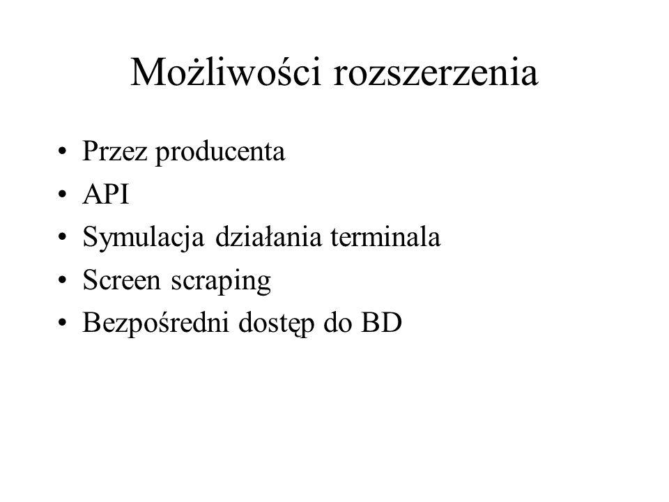 Możliwości rozszerzenia Przez producenta API Symulacja działania terminala Screen scraping Bezpośredni dostęp do BD