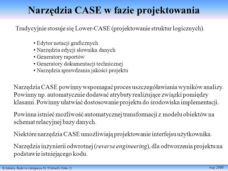 K.Subieta. Budowa i integracja SI, Wykład 6, Folia 23 maj 2000 Narzędzia CASE w fazie projektowania Tradycyjnie stosuje się Lower-CASE (projektowanie