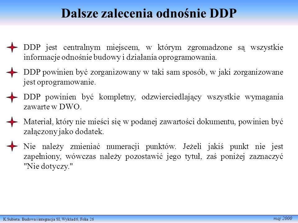 K.Subieta. Budowa i integracja SI, Wykład 6, Folia 26 maj 2000 Dalsze zalecenia odnośnie DDP DDP jest centralnym miejscem, w którym zgromadzone są wsz