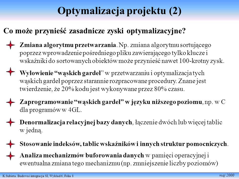K.Subieta. Budowa i integracja SI, Wykład 6, Folia 8 maj 2000 Optymalizacja projektu (2) Co może przynieść zasadnicze zyski optymalizacyjne? Zmiana al