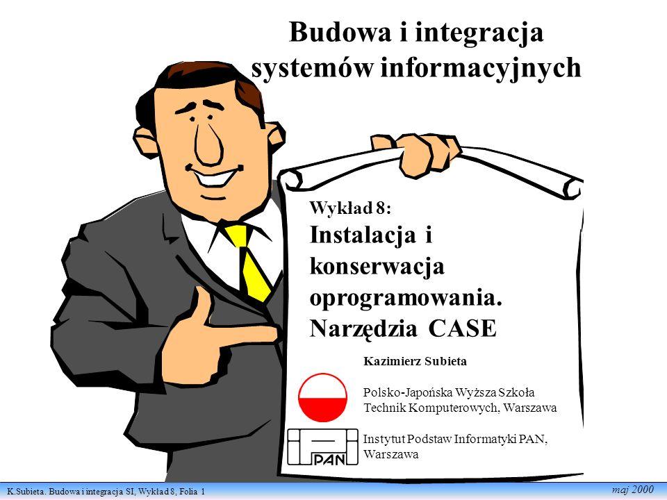 K.Subieta. Budowa i integracja SI, Wykład 8, Folia 1 maj 2000 Budowa i integracja systemów informacyjnych Wykład 8: Instalacja i konserwacja oprogramo