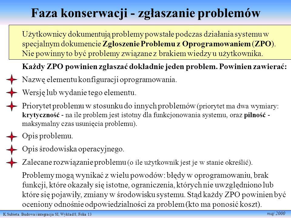 K.Subieta. Budowa i integracja SI, Wykład 8, Folia 13 maj 2000 Faza konserwacji - zgłaszanie problemów Użytkownicy dokumentują problemy powstałe podcz