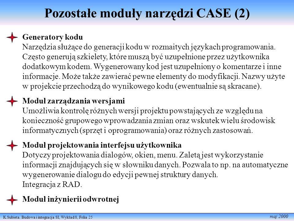 K.Subieta. Budowa i integracja SI, Wykład 8, Folia 25 maj 2000 Pozostałe moduły narzędzi CASE (2) Generatory kodu Narzędzia służące do generacji kodu