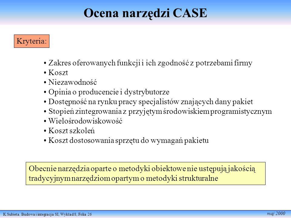 K.Subieta. Budowa i integracja SI, Wykład 8, Folia 26 maj 2000 Ocena narzędzi CASE Kryteria: Zakres oferowanych funkcji i ich zgodność z potrzebami fi