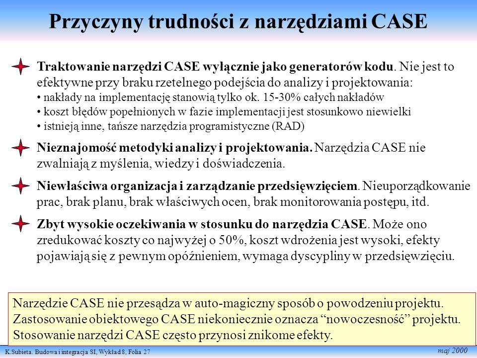 K.Subieta. Budowa i integracja SI, Wykład 8, Folia 27 maj 2000 Narzędzie CASE nie przesądza w auto-magiczny sposób o powodzeniu projektu. Zastosowanie