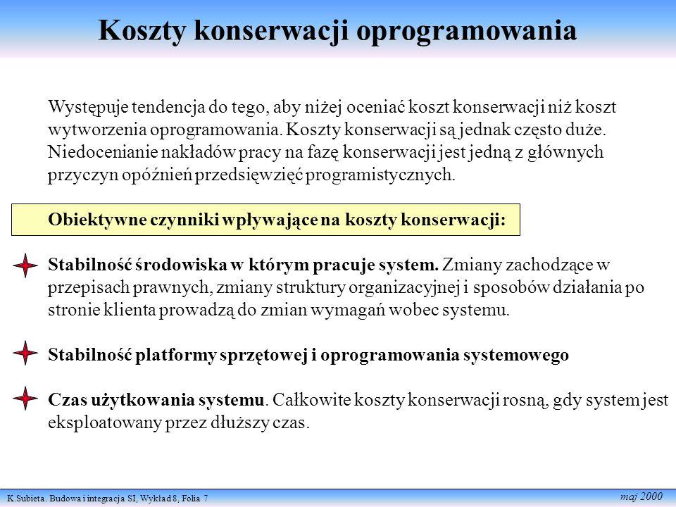 K.Subieta. Budowa i integracja SI, Wykład 8, Folia 7 maj 2000 Koszty konserwacji oprogramowania Występuje tendencja do tego, aby niżej oceniać koszt k
