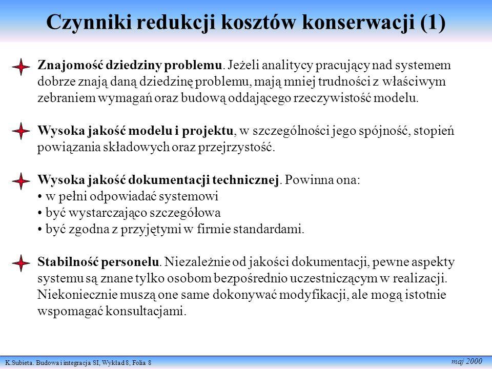 K.Subieta. Budowa i integracja SI, Wykład 8, Folia 8 maj 2000 Czynniki redukcji kosztów konserwacji (1) Znajomość dziedziny problemu. Jeżeli analitycy