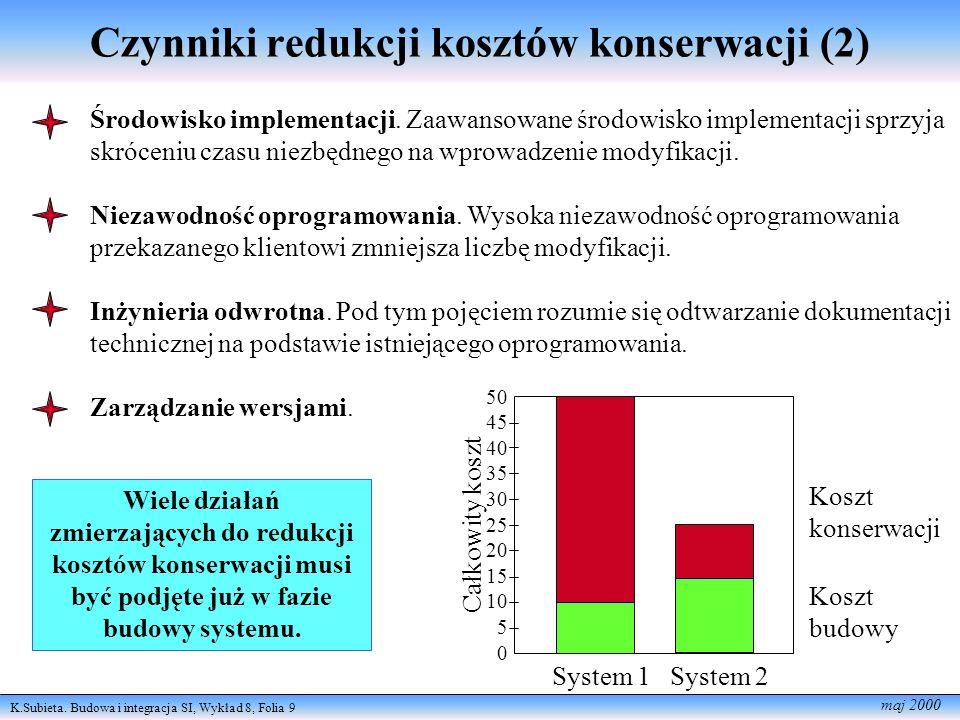 K.Subieta. Budowa i integracja SI, Wykład 8, Folia 9 maj 2000 Czynniki redukcji kosztów konserwacji (2) Środowisko implementacji. Zaawansowane środowi