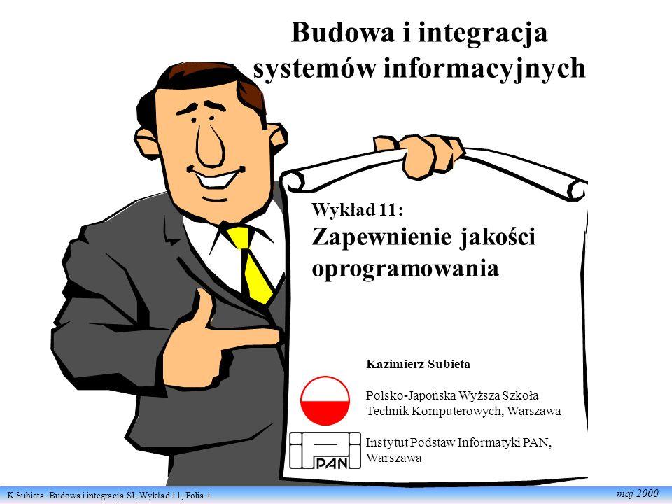 K.Subieta. Budowa i integracja SI, Wykład 11, Folia 1 maj 2000 Budowa i integracja systemów informacyjnych Wykład 11: Zapewnienie jakości oprogramowan