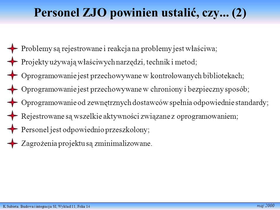 K.Subieta. Budowa i integracja SI, Wykład 11, Folia 14 maj 2000 Personel ZJO powinien ustalić, czy... (2) Problemy są rejestrowane i reakcja na proble