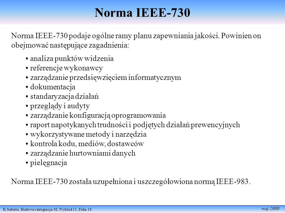 K.Subieta. Budowa i integracja SI, Wykład 11, Folia 18 maj 2000 Norma IEEE-730 Norma IEEE-730 podaje ogólne ramy planu zapewniania jakości. Powinien o