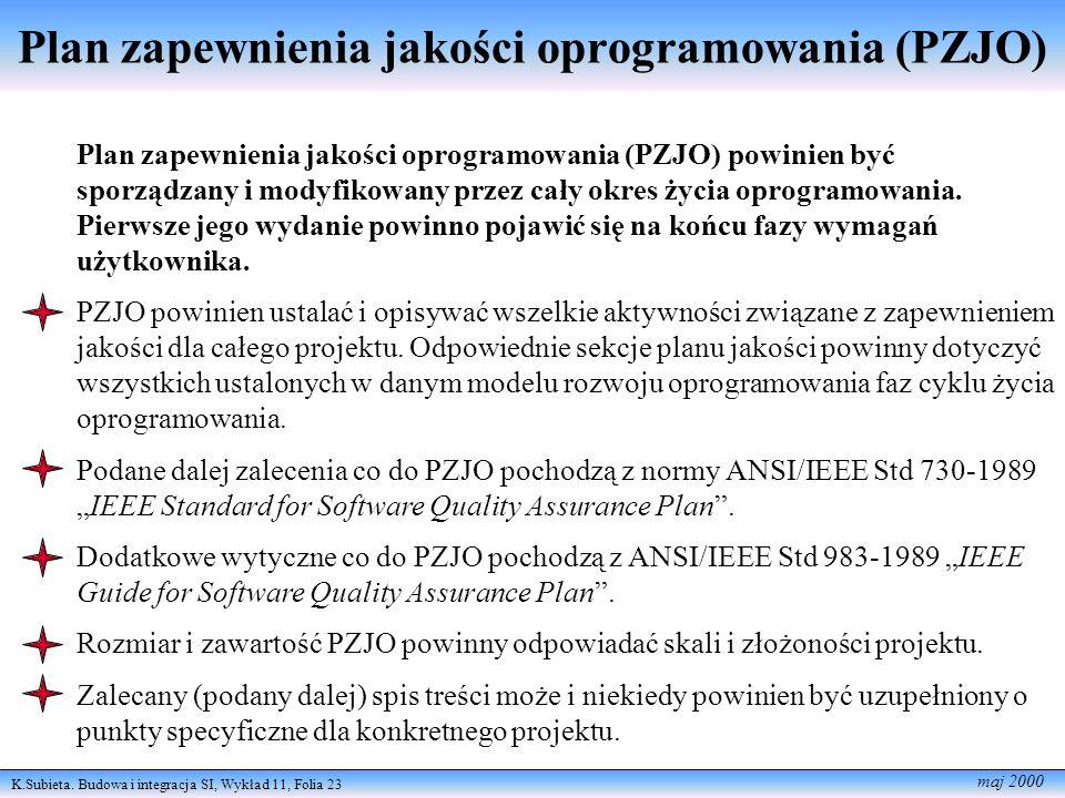 K.Subieta. Budowa i integracja SI, Wykład 11, Folia 23 maj 2000 Plan zapewnienia jakości oprogramowania (PZJO) Plan zapewnienia jakości oprogramowania