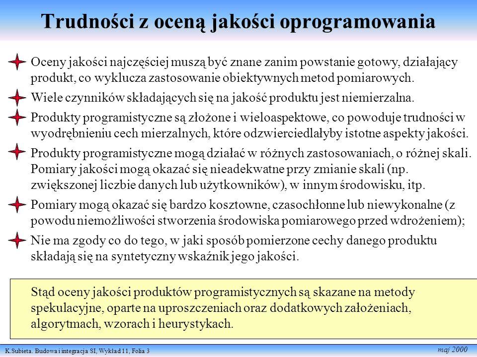 K.Subieta. Budowa i integracja SI, Wykład 11, Folia 3 maj 2000 Trudności z oceną jakości oprogramowania Oceny jakości najczęściej muszą być znane zani