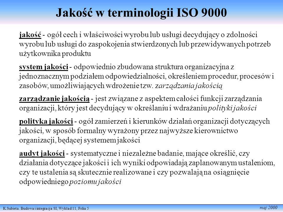 K.Subieta. Budowa i integracja SI, Wykład 11, Folia 5 maj 2000 Jakość w terminologii ISO 9000 jakość - ogół cech i właściwości wyrobu lub usługi decyd
