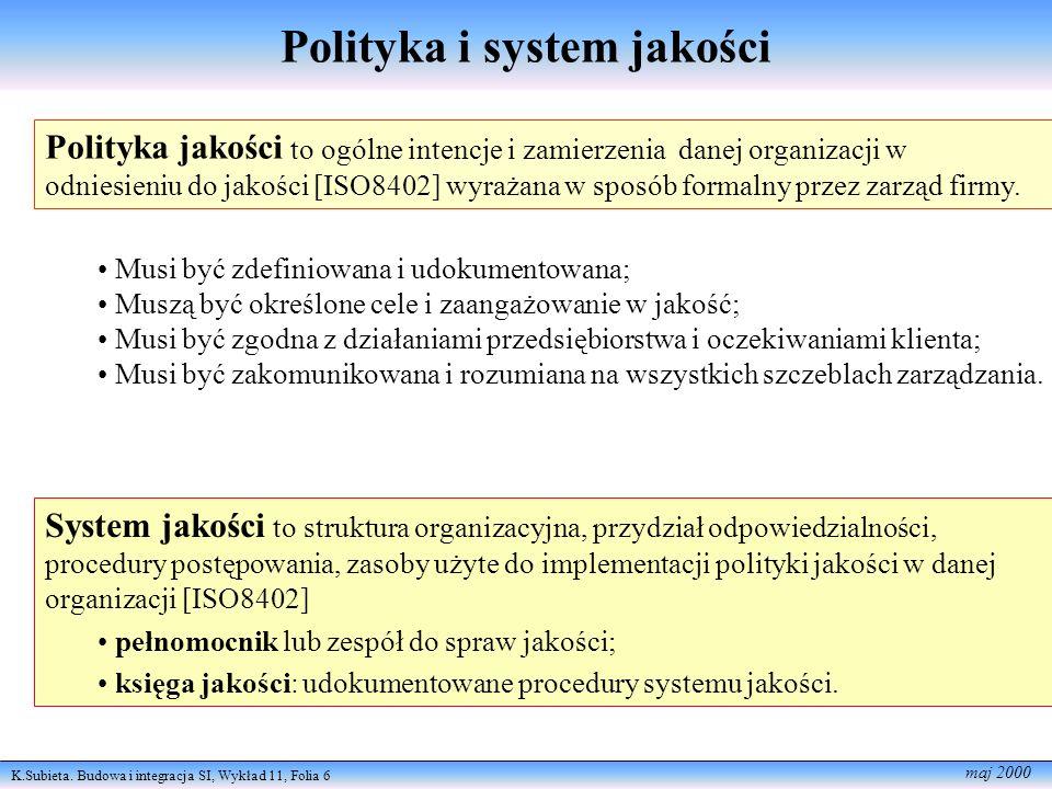K.Subieta. Budowa i integracja SI, Wykład 11, Folia 6 maj 2000 Polityka jakości to ogólne intencje i zamierzenia danej organizacji w odniesieniu do ja