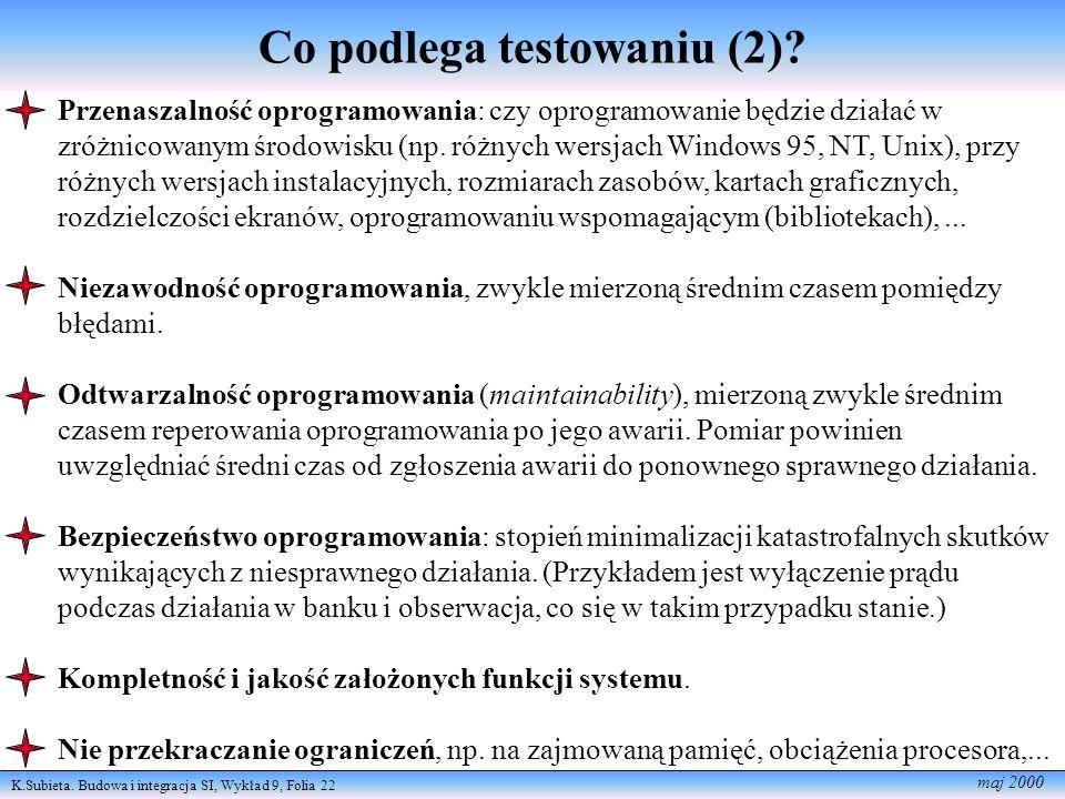 K.Subieta.Budowa i integracja SI, Wykład 9, Folia 23 maj 2000 Co podlega testowaniu (3).