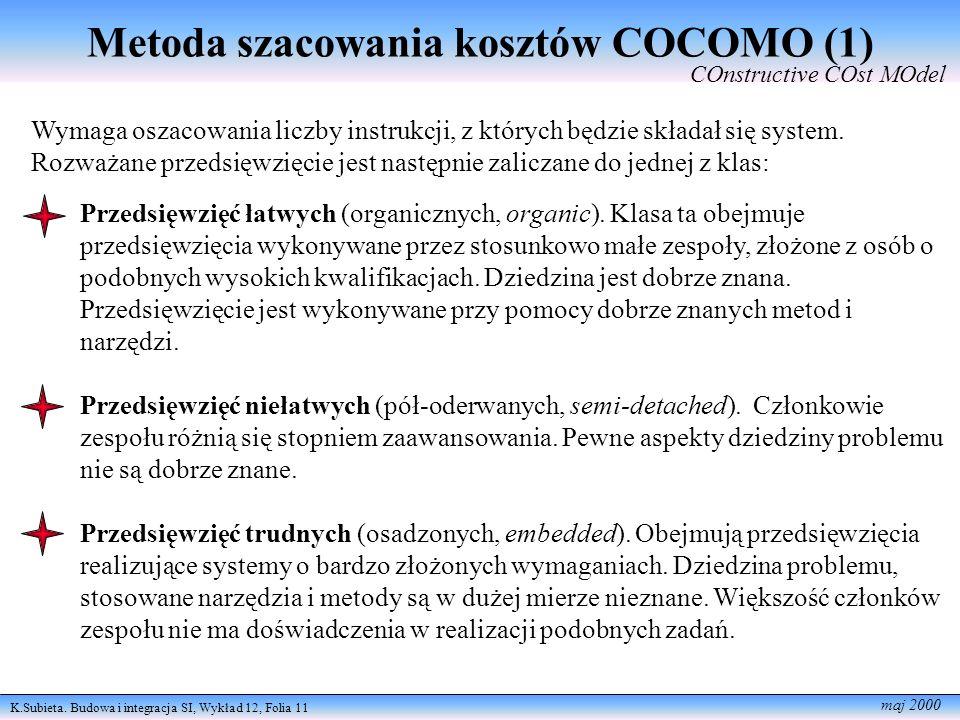 K.Subieta. Budowa i integracja SI, Wykład 12, Folia 11 maj 2000 Metoda szacowania kosztów COCOMO (1) COnstructive COst MOdel Wymaga oszacowania liczby