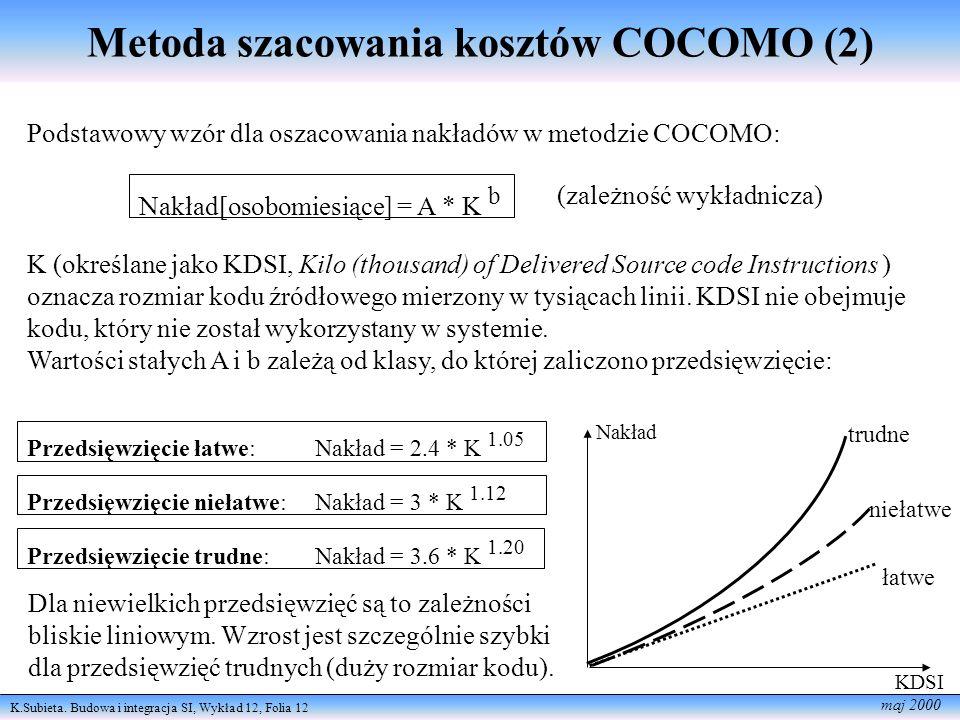 K.Subieta. Budowa i integracja SI, Wykład 12, Folia 12 maj 2000 Metoda szacowania kosztów COCOMO (2) Podstawowy wzór dla oszacowania nakładów w metodz