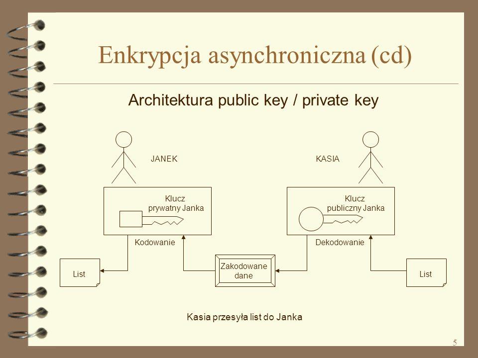 5 Enkrypcja asynchroniczna (cd) Architektura public key / private key List Zakodowane dane List Klucz prywatny Janka Kodowanie Klucz publiczny Janka Dekodowanie JANEKKASIA Kasia przesyła list do Janka