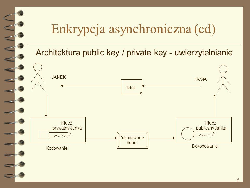 6 Enkrypcja asynchroniczna (cd) Architektura public key / private key - uwierzytelnianie Tekst Zakodowane dane Klucz prywatny Janka Kodowanie Klucz publiczny Janka Dekodowanie JANEK KASIA