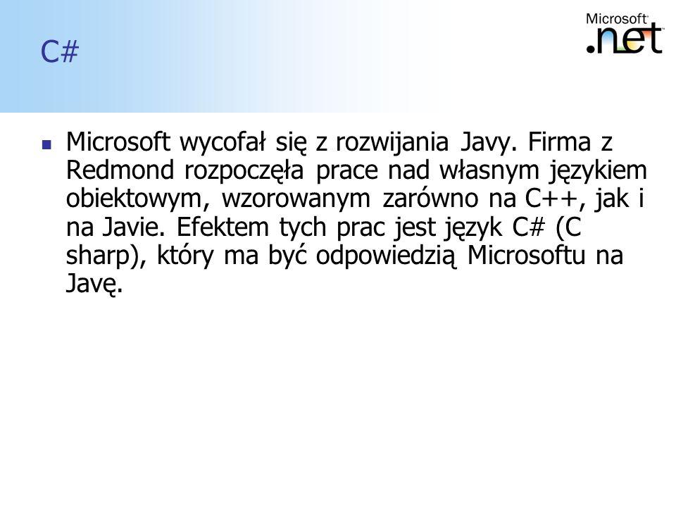 10 C# Microsoft wycofał się z rozwijania Javy. Firma z Redmond rozpoczęła prace nad własnym językiem obiektowym, wzorowanym zarówno na C++, jak i na J