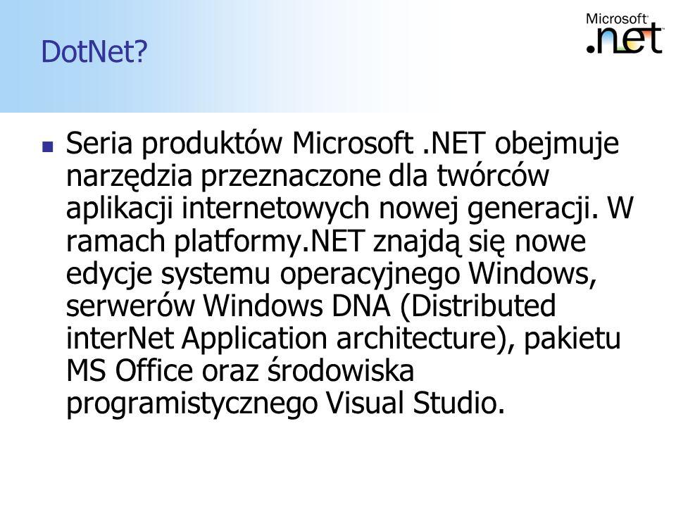 4 DotNet? Seria produktów Microsoft.NET obejmuje narzędzia przeznaczone dla twórców aplikacji internetowych nowej generacji. W ramach platformy.NET zn