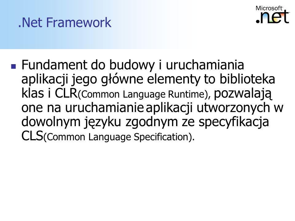 6.Net Framework Fundament do budowy i uruchamiania aplikacji jego główne elementy to biblioteka klas i CLR (Common Language Runtime), pozwalają one na