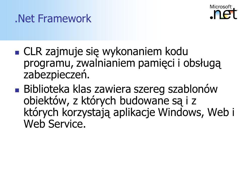 7.Net Framework CLR zajmuje się wykonaniem kodu programu, zwalnianiem pamięci i obsługą zabezpieczeń. Biblioteka klas zawiera szereg szablonów obiektó