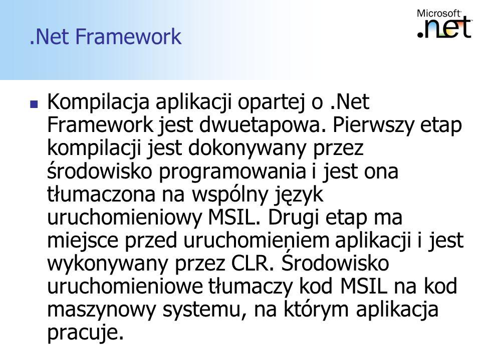 8.Net Framework Kompilacja aplikacji opartej o.Net Framework jest dwuetapowa. Pierwszy etap kompilacji jest dokonywany przez środowisko programowania