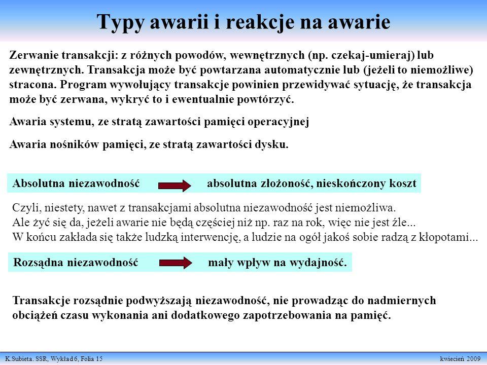 K.Subieta. SSR, Wykład 6, Folia 15 kwiecień 2009 Typy awarii i reakcje na awarie Zerwanie transakcji: z różnych powodów, wewnętrznych (np. czekaj-umie