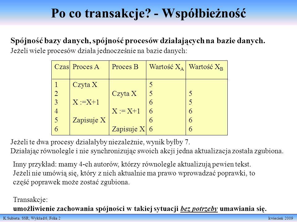 K.Subieta. SSR, Wykład 6, Folia 2 kwiecień 2009 Po co transakcje? - Współbieżność Spójność bazy danych, spójność procesów działających na bazie danych