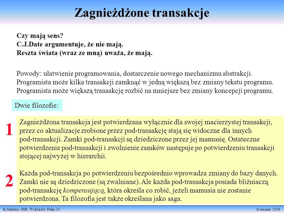 K.Subieta. SSR, Wykład 6, Folia 20 kwiecień 2009 Zagnieżdżone transakcje Czy mają sens? C.J.Date argumentuje, że nie mają. Reszta świata (wraz ze mną)