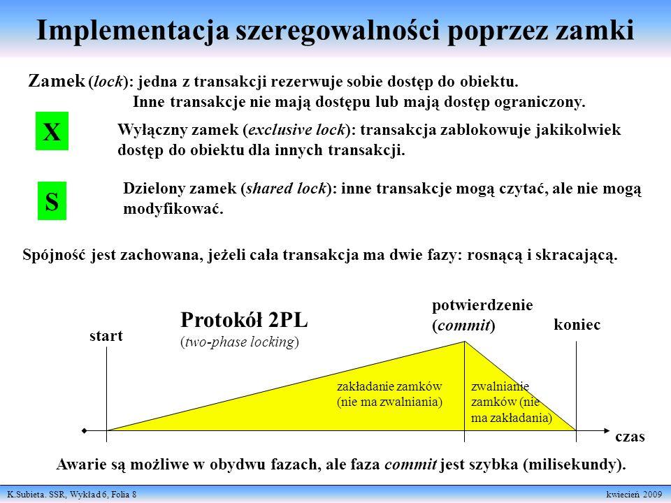 K.Subieta. SSR, Wykład 6, Folia 8 kwiecień 2009 Implementacja szeregowalności poprzez zamki Zamek (lock): jedna z transakcji rezerwuje sobie dostęp do