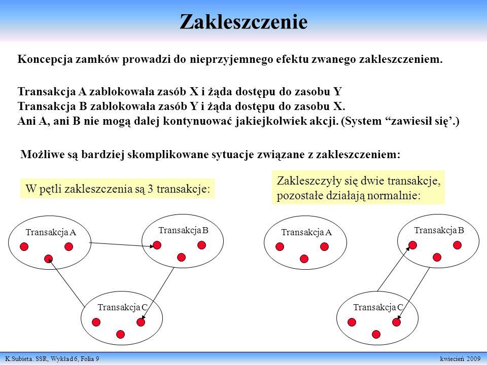 K.Subieta. SSR, Wykład 6, Folia 9 kwiecień 2009 Zakleszczenie Koncepcja zamków prowadzi do nieprzyjemnego efektu zwanego zakleszczeniem. Transakcja A