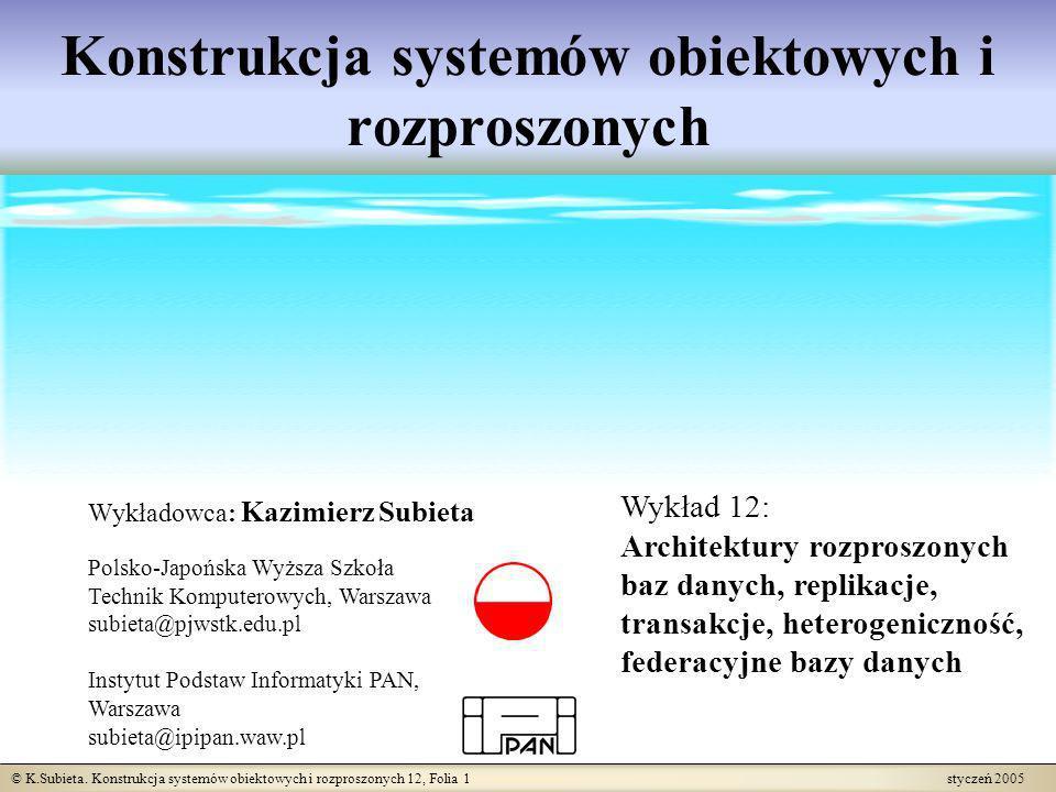 © K.Subieta. Konstrukcja systemów obiektowych i rozproszonych 12, Folia 1 styczeń 2005 Konstrukcja systemów obiektowych i rozproszonych Wykładowca: Ka