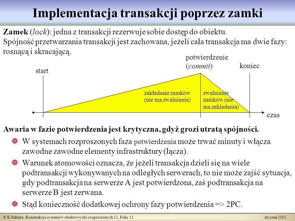 © K.Subieta. Konstrukcja systemów obiektowych i rozproszonych 12, Folia 11 styczeń 2005 Implementacja transakcji poprzez zamki Zamek (lock): jedna z t