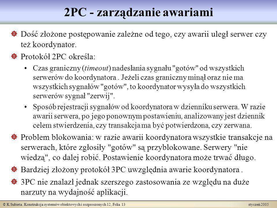 © K.Subieta. Konstrukcja systemów obiektowych i rozproszonych 12, Folia 13 styczeń 2005 2PC - zarządzanie awariami Dość złożone postępowanie zależne o