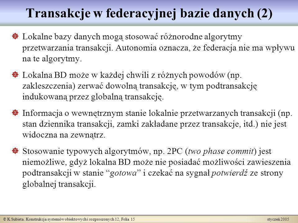 © K.Subieta. Konstrukcja systemów obiektowych i rozproszonych 12, Folia 15 styczeń 2005 Transakcje w federacyjnej bazie danych (2) Lokalne bazy danych